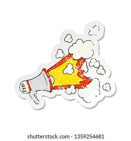 retro distressed sticker of a cartoon loudhailer