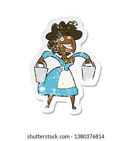 retro distressed sticker of a cartoon milkmaid carrying buckets