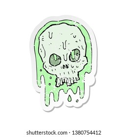 retro distressed sticker of a cartoon slimy skull