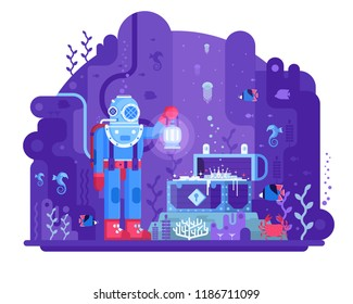 Retro diver standing on seabed in underwater world finding open gold chest. Sea treasure hunting illustration. Deep diving concept scene with aqualunger in old scuba dive suit on coral reef.