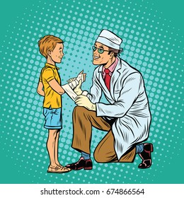 Retro doctor bandaging boy injured arm. Pop art retro  illustration