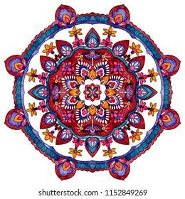 Retro ethnic mandala circular pattern, watercolor hand drawn ornate design element