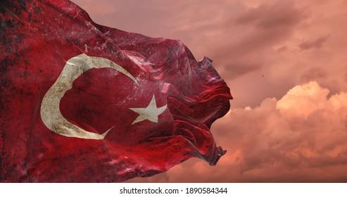 retro flag of Turkey with grunge texture. 3d illustration