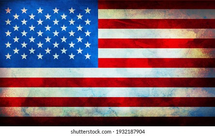 retro flag of United States  with grunge texture. Top view