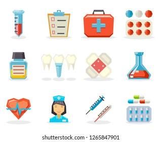 Retro Flat Medical Isolated Polygonal Icon Set Flat Design  Illustration