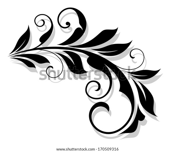 Retro flourish element with shadow for design and embellish. Vector version also available in gallery