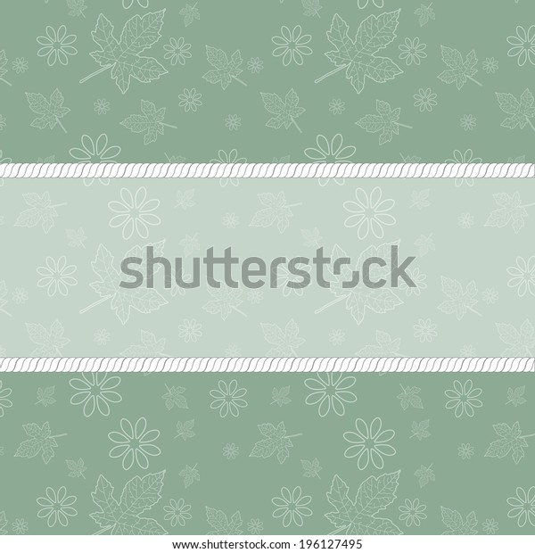 Retro frame on the green floral background