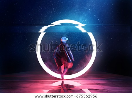 Retro Future. A futuristic spaceman walking through a circle of light. 3D illustration
