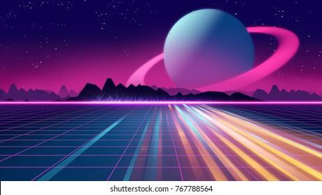 Arrière-plan futuriste rétro, illustration 3d style années 1980. Paysage numérique dans un monde cybernétique. Pour être utilisé comme couverture d'album de musique .