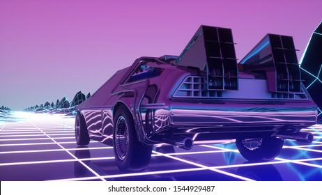 Retro futuristic car in 80s style moves on a virtual neon landscape. 3d illustration.