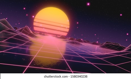Retro futuristic flight in space with a polygonal mesh on the generated hills and floor. Concept 80s 90s. Fantastic abstract neon background. Camera tilted, Dutch corner. 3d illustration