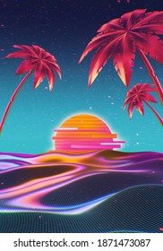 Retro futuristic illustration in 1980s style. Spectral terrain with vivid palm trees in front of cyber laser sunset. Neon light colored a4 background for flyer, cover, brochure.