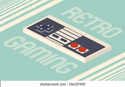 Retro gaming illustration of a vintage game controller