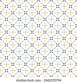 Retro geometric pattern in repeat. Fabric print. Seamless background, mosaic ornament, vintage style. Design for prints on fabrics, textile, covers, paper, wallpaper, interior, patchwork, wrapping.