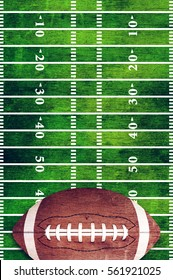 A retro grunge American football field and ball background illustration.