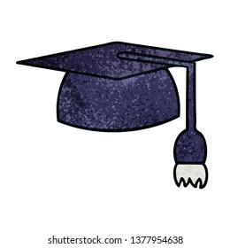 retro grunge texture cartoon of a graduation hat