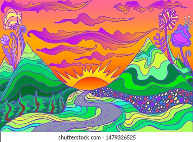Retro hippie style psychedelic landscape with mountains, sun and the road going into the sunset. Raster cartoon bright gradient colors background.