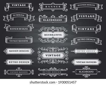 Retro horizontal banners. Ribbon flourish ornate frame decoration vintage collection