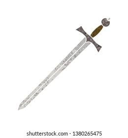 retro illustration style quirky cartoon sword