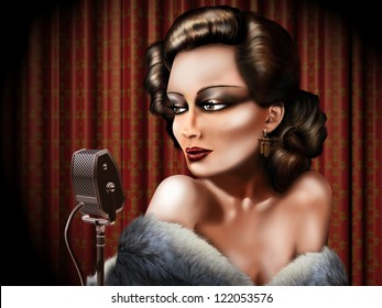 Retro illustration of a woman singing into a microphone