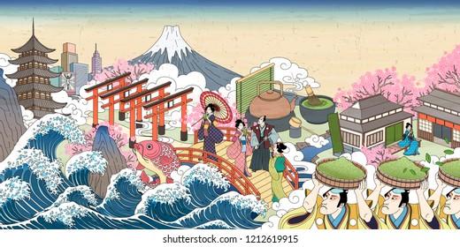 Retro Japan street scenery in Ukiyo-e style, people carrying green powder and enjoying their beverage