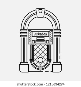 Retro jukebox flat line  icon isolated on white background.