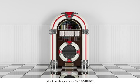 Retro jukebox on white wood planks wall and checker black white floor. 3d render. 60s 70s 80s