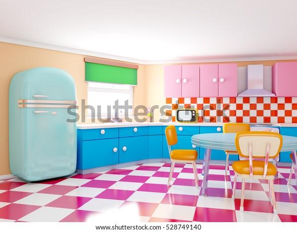 Retro Küche im Cartoon-Stil mit Schachbrettboden ...