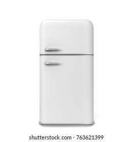 Retro kitchen fridge. 3d illustration isolated on white background