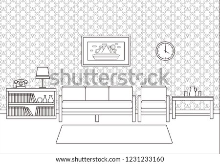 Retro Linear Living Room Interior Room Stock Illustration 1231233160 on house architecture design, product page design, house drawing, sketchup house design, house plans with furniture layouts, house art design, house light design, house perspective design, house construction, house template, house design blueprint, green building design, house green design, house layout design, house study design, house model design, house studio design, house autocad, house painting design, house graphic design,