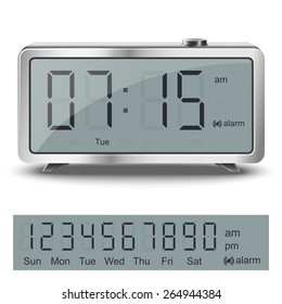 Retro Liquid Crystal Alarm Clock With Black Numbers And Glare Metallic Body Isolated On White