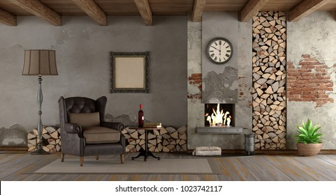 Retro living room with fireplace and classic armchair - 3d rendering