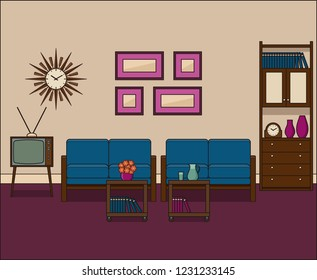 Retro living room in flat design. Room interior in line art. Linear illustration. Thin line vintage home space with sofa, TV and cupboard. House equipment 1960s.