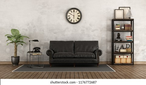 Retro living room with leather sofa and vintage bookcase - 3d rendering