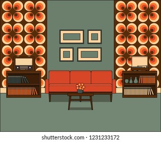 Retro living room in line art. Room interior 60s. Linear illustration in flat design. Thin line vintage home space with sofa and coffee table. House equipment.