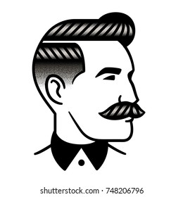Retro man hairstyle with mustache, vintage stipple style. Barber salon, male haircut illustration