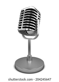 Retro microphone. 3d illustration isolated on white background