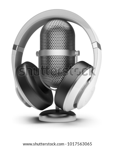 Retro microphone and headphones. 3d image. White background.
