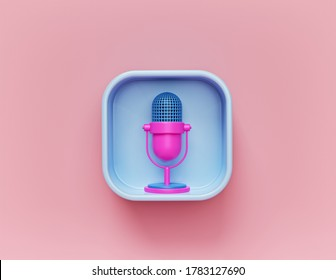 Retro microphone icon. concept of podcast, voice recording, translation. minimal design. 3d rendering