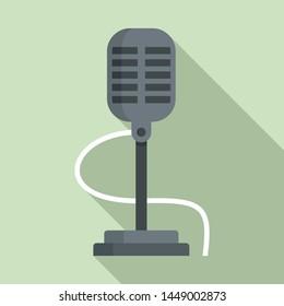 Retro microphone icon. Flat illustration of retro microphone icon for web design