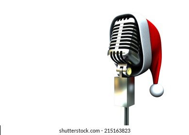 Retro microphone with santa hat on white background
