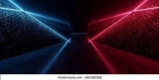 Retro Modern Sci Fi Dance Room Brick Walls Neon Laser Red Blue Glowing Beams Concrete Floor Empty Dance Garage Warehouse Underground Show Stage 3D Rendering Illustration