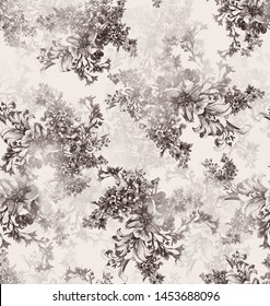 Retro Monotone Black and grey Laces Fabric in Floral Abstract Seamless Pattern on Textile Texture Background, used as Furniture Material or Vintage Style Interior Design