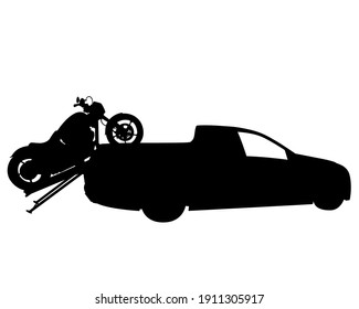 Retro motorcycle rides on the road. Isolated object on white background