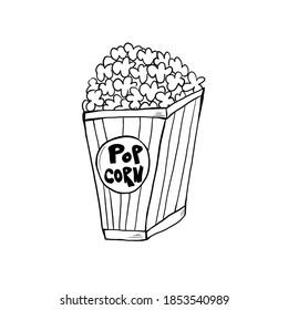 Retro movie art drawing. Simple template illustration. Film, popcorn, camera, star, cinema