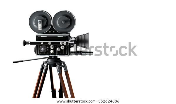 retro movie camera side view