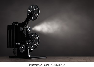 Retro Movie Film Cinema Projector on a wooden table. 3d Rendering