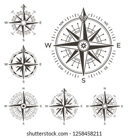Retro nautical compass. Vintage rose of wind for sea world map navigation marine windrose icons. West and east or south and north arrows old travel antique equipment symbol isolated  set