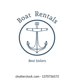 Retro nautical label with anchor. Template for logo design of travel agencies, tourist offices, boat rental or cruise.