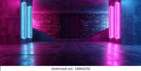 Retro Neon Futuristic Grunge Brick Concrete Glowing Purple Pink Blue Empty Dance Podium Room Club With Stairs Sci Fi Lasers Rays Vibrant 3D Rendering Illustration